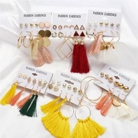 6 pairs fashion geometric boho earrings for women jewelry dangle fringed tassel earrings crystal stud earrings set ear stud