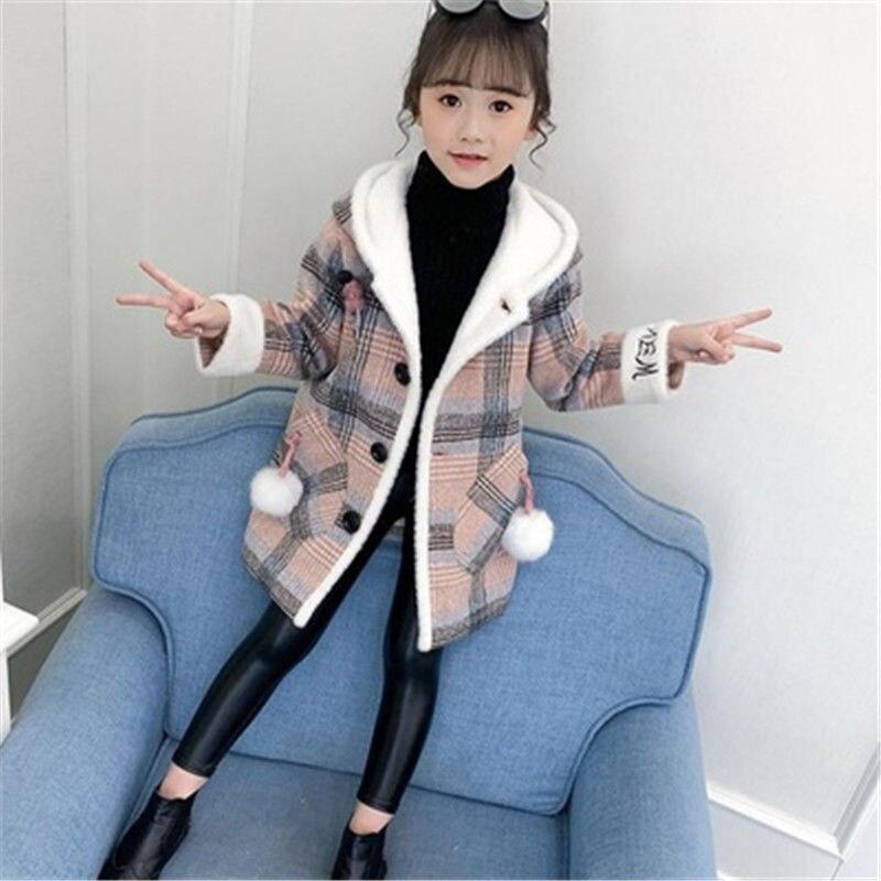Girls Woolen Coat Autumn/winter 2021 New Medium and Big Kids Plus Velvet Western Windbreaker Children's Woolen Korean style Top