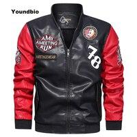 2021 Men Leather Jacket Autumn Winter Casual Motor Spliced Stand Collar PU Jacket Men Slim Style Quality Leather Jacket Coat Men