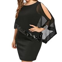 women plus 5xl large size cold shoulder overlay asymmetric chiffon strapless sequins mini party dresses