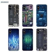 Transparente TPU funda para Huawei P Smart 2019 G7 G8 P7 P8 P10 más P20 P30 Pro P9 Lite mini 2017 diseños en línea placa de circuito