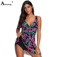 plus size 3xl women tankini swimsuits two pieces skirt sets 2021 summer model flower print bathing suits sexy femme clothing