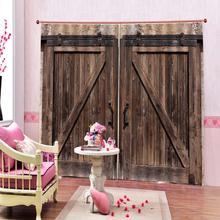 Rideaux de porte en bois bruns   Taille personnalisée, rideaux de luxe pour fenêtre 3D pour salon, rideaux de rideaux