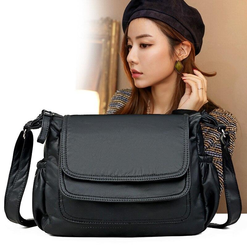2020 bolso de hombro de cuero suave satchel clásico pequeño madre a través de los paquetes de libro de sudor pu bolsa para la primavera y el verano