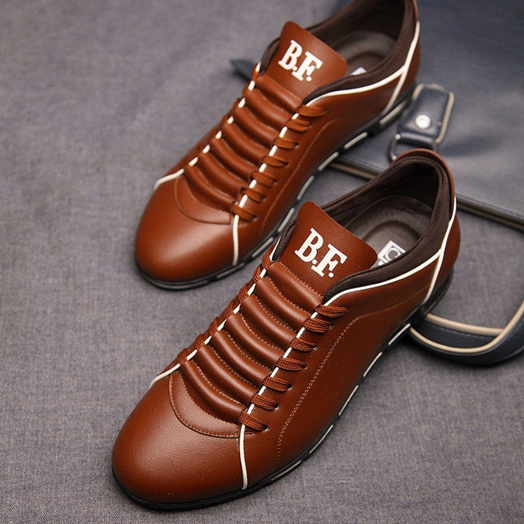 2020 New Men Fashion Solid Leather Business Sport Flat Round Toe Casual Shoes Men's Casual Shoes Fashion Summer Casual Shoes