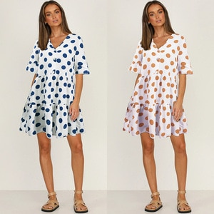 2021 new women's fashion casual V-neck Polka Dot Short Sleeve Dress Free shipping