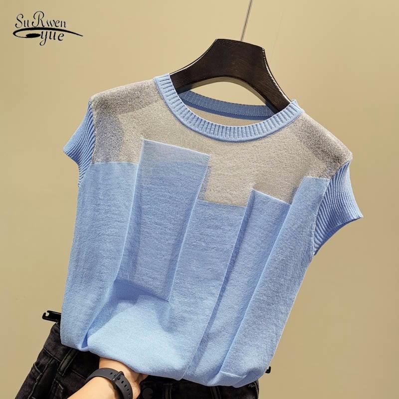 aliexpress - Korean Patchwork Ice Silk Knitted Tops Blusas Mujer De Moda Women O-neck Short Sleeve Pullover Fashion Thin Blouse Blusas 8796