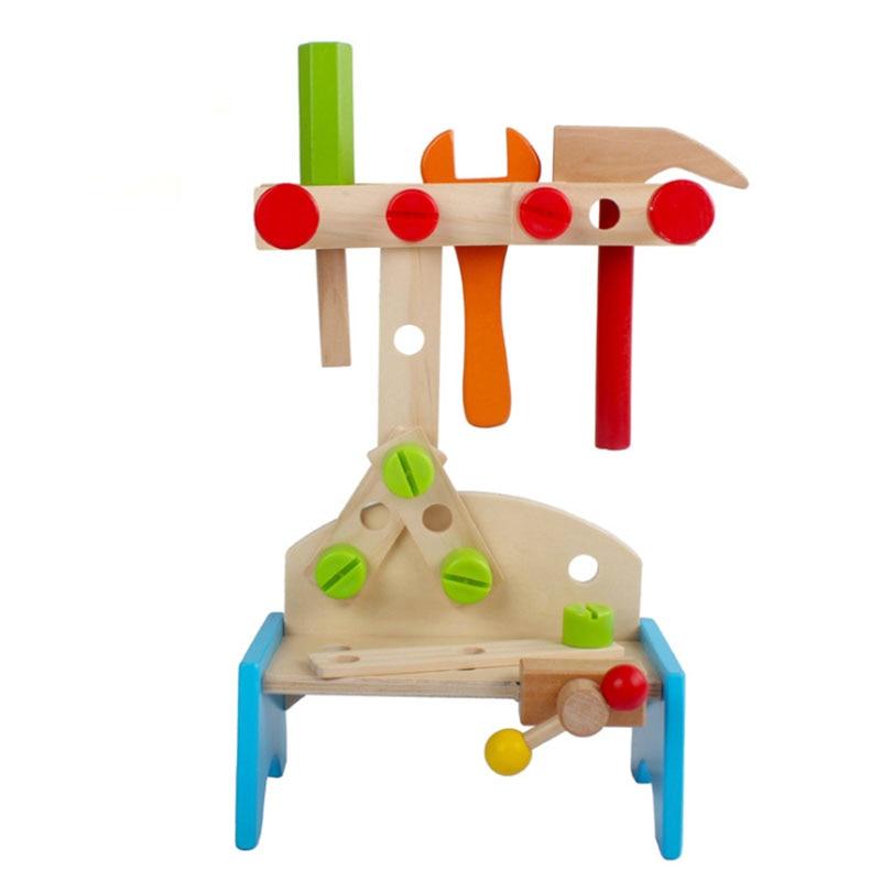 Juego de herramientas de simulación de madera para bricolaje, soporte con forma de trompeta, rompecabezas manual para bebé, desmontaje combinado de inteligencia educativa