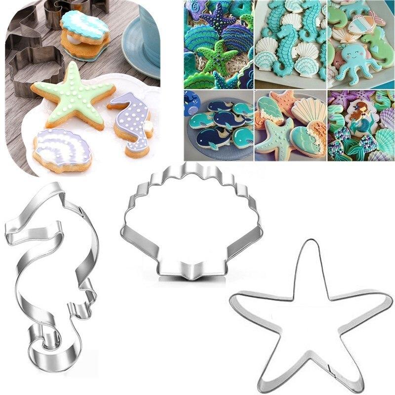 Creativo para hornear serie Marina molde de impresión de galletas hipocampo estrella de mar vieiras DIY molde de galletas herramientas de acero inoxidable para hornear