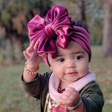 Nowy aksamitny pałąk dla dzieci Turban Big Bowknot Baby Girl pałąk dla noworodka opaska do włosów z kokardką dzieci Kid chusta na głowę akcesoria do włosów