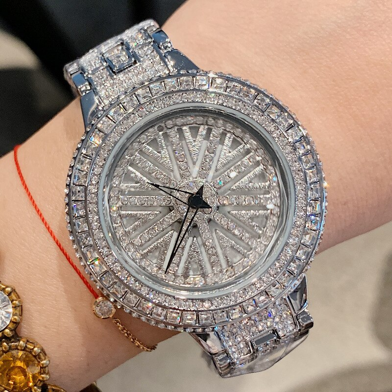 Woman Rotation Rhinestone Watch Lady Siver Dress Watches Women Big Dial Bracelet Wristwatch Crystal Watch horloges vrouwen 2019