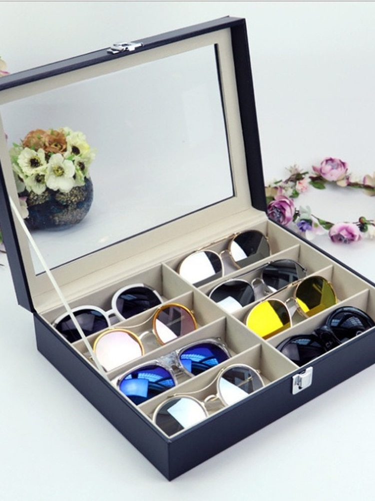 Sunglasses Storage Booth Display Box Flip Leather 8 Glasses Box Sunglasses Packaging Box Leather Box Eyeglass Holder Stand clear acrylic 3 tier eyeglass sunglasses glasses display stand table counter top retail show holder