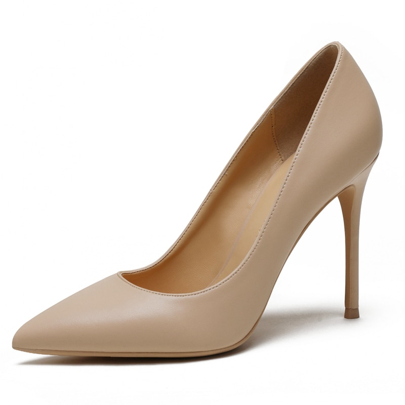 حذاء نسائي بكعب عالٍ من الجلد الطبيعي ، حذاء أنيق بمقدمة مدببة لحفلات الزفاف ، مقاس كبير A003