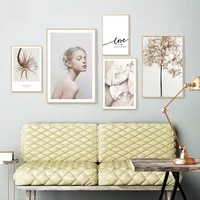 modern minimalist nordic small fresh girl canvas painting creative character art posters and prints decorating the living room