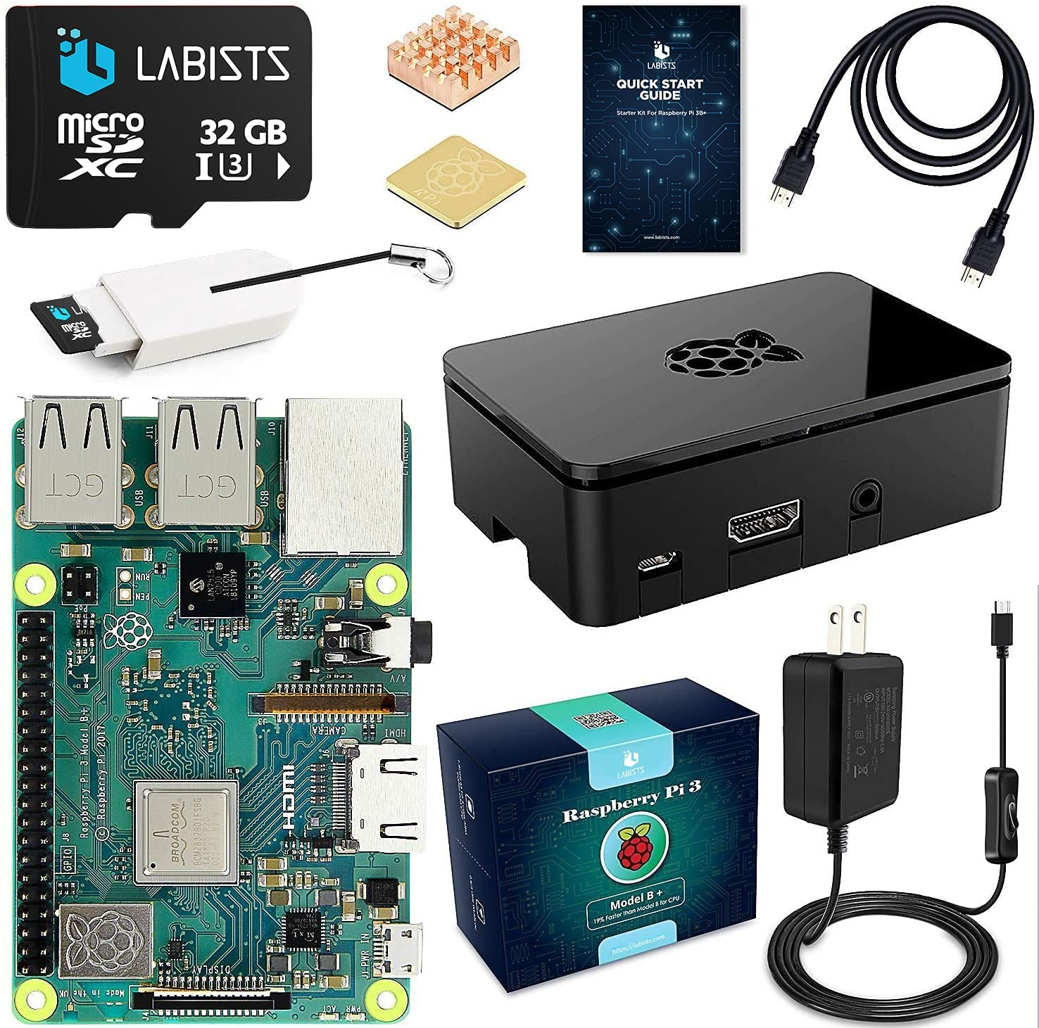 Raspberry Pi 3 B+/B Plus Starter Kit with 32GB Micro SD Card Noobs Model B Plus Motherboard Premium Black Case Copper Heat Sinks