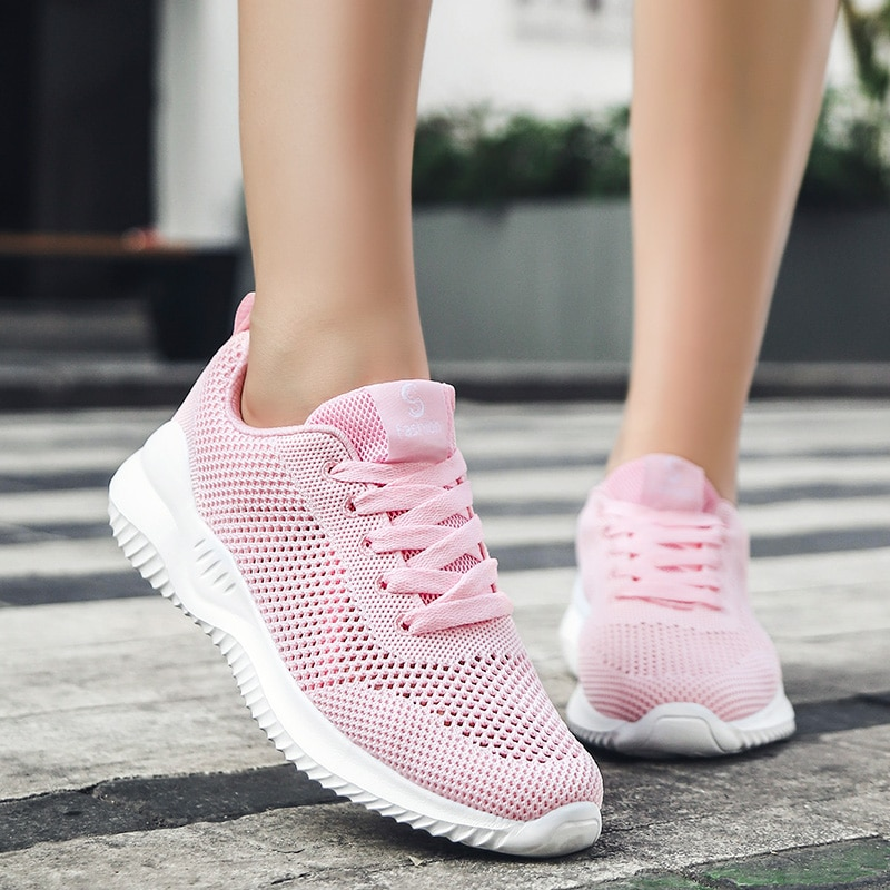 New Air Mesh Breathable Sneakers for Women Fashion Lightweight Jogging Shoes Female Non-slip Comfortable Sneaker Tennis Trainers
