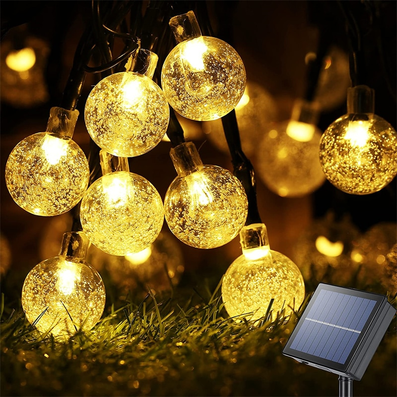 Solar String Lights Outdoor 60 Led Crystal Globe Lights with 8 Modes Waterproof Solar Powered Patio Light for Garden Party Decor