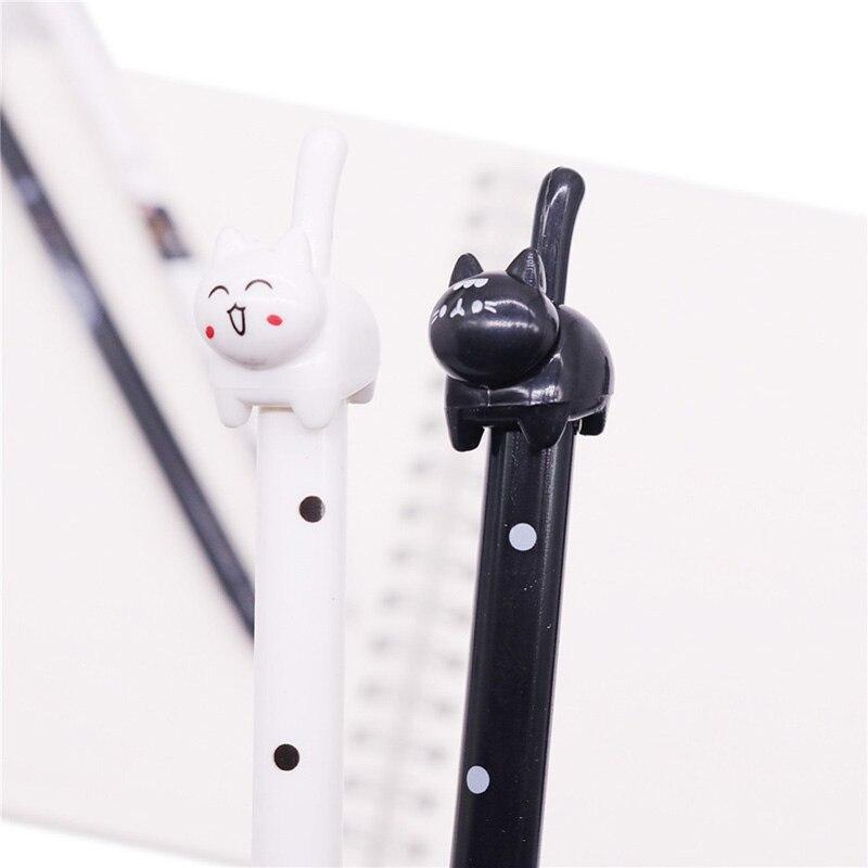 Bolígrafos promocionales, 50 Uds., 0,5mm, pluma de Gel con diseño de gato, bolígrafo para escribir para estudiantes, escuela, oficina, escuela, papelería, tienda, recarga de tinta negra