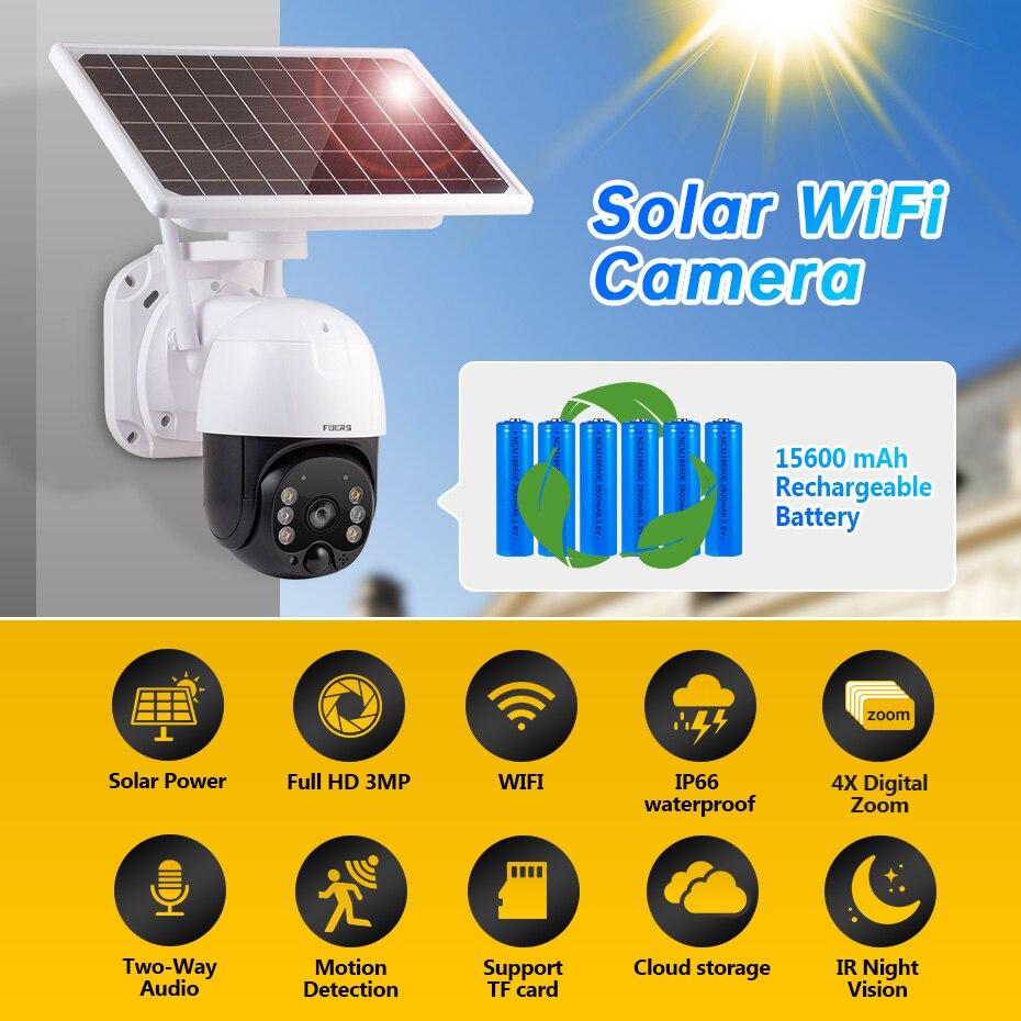 Fuers 3MP Solar Power Camera Wireless Battery IP Camera Solar Panel WIFI Outdoor Camera Security Cloud Storage IP66 Waterproof