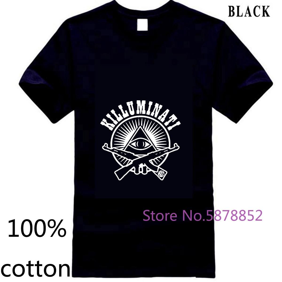 Nuevo Killuminati Illuminati Nueva Orden Mundial ojo Logo negro para hombres camiseta tops camisetas 100% algodón Hombre