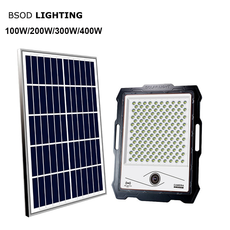 LED Solar Powered Security Lights with Video Camera BSOD Street Motion Portable Flood 100W-400W Lamp Outdoor PIR RemoteWifi CCTV