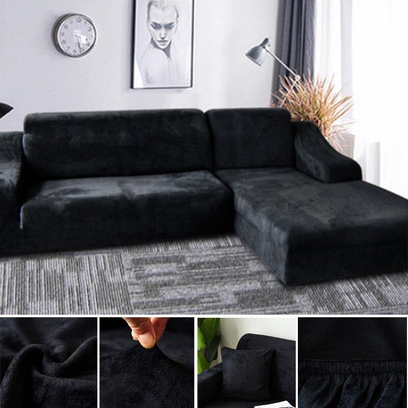 Capas de sofá de canto de pelúcia para sala de estar elástico elastano slipcovers capa de sofá estiramento toalha l forma precisa comprar 2 peça preto