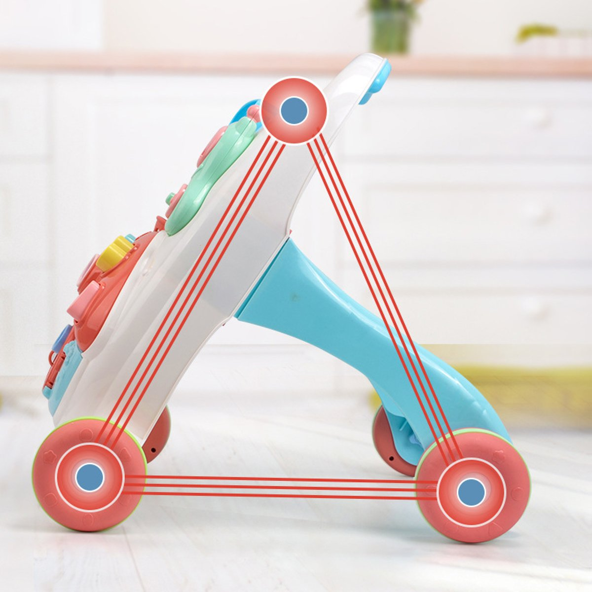 2-in-1 Baby Walker Toys Multifuctional Non-slip Toddler Trolley Sit-to-Stand ABS Musical Walker With Water Tank for Toddler enlarge