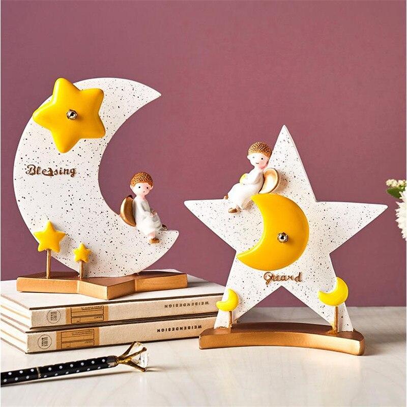 [HHT] caja de música de dibujos animados de artesanía de resina creativa, adornos de escritorio, Noria Luna estrella, habitación infantil, decoración del hogar, regalo de cumpleaños