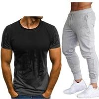2021 mens sets t shirts pants two pieces sets casual tracksuit 3d print suits sportwear fitness pants