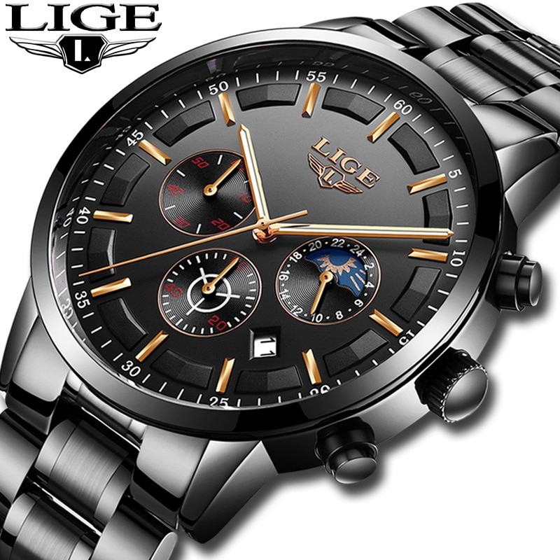 Top Brand LIGE 9877 Fashion Mens Luxury Business Watch Stainless Steel Casual Sports Quartz Waterproof Clock Wristwatches Male