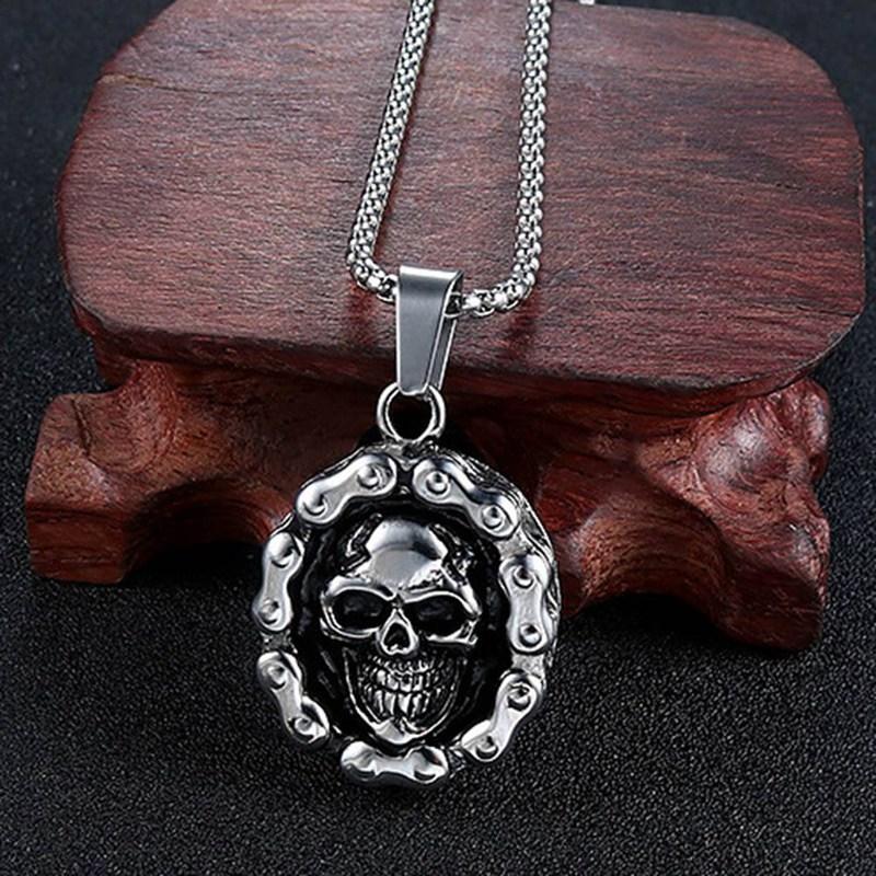 Cool Heavy Bicycle Chain Skull Motorcycles Engine Pendant Stainless Steel Jewelry Motor Biker Skull  Men Pendant
