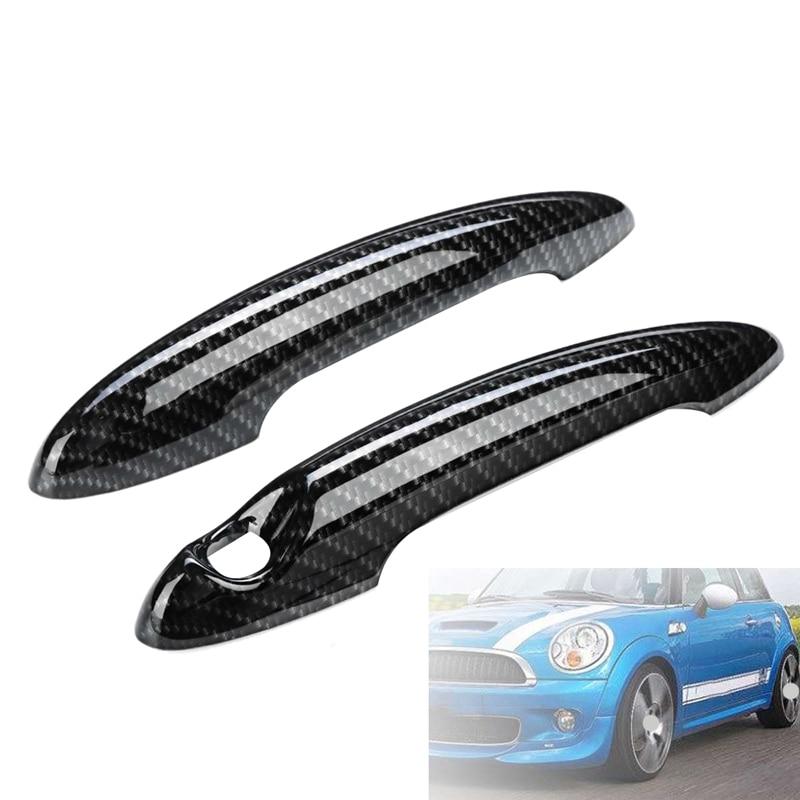 2Pcs Carbon Fiber Car Door Handle Cover Car Styling Exterior for BMW MINI Cooper S R50 R52 R53 R55 R56 R57 R58 R59 R61