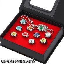 10 stile giappone Anime HOKAGE Akatsuki Cosplay Ninjaas anelli Sasori Itachi Hidan Deidara Pein accessori Prop Itachi anello pendente