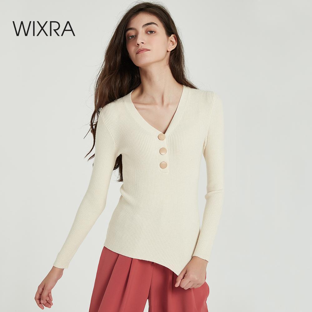 Wixra femmes chandails et pulls automne hiver bouton col en V basique élastique doux chaud tricot pull hauts