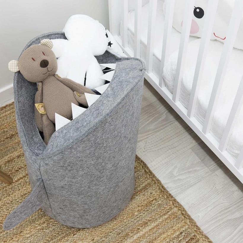 Корзина для белья в форме акулы, косметическая сумка для хранения, войлочная ткань, органайзер для одежды, игрушка, корзина для грязной одеж...