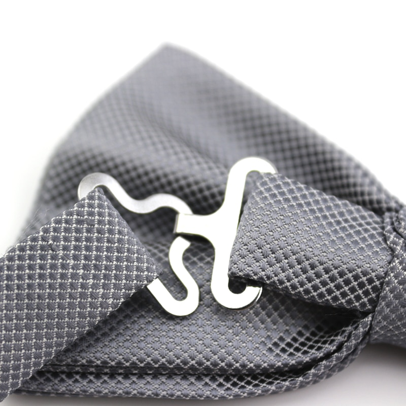 2019 New Fashion Men's Bow Ties for Wedding Double Fabric Smoke Gray Bowtie Club Banquet Anniversary Butterfly Tie with Gift Box