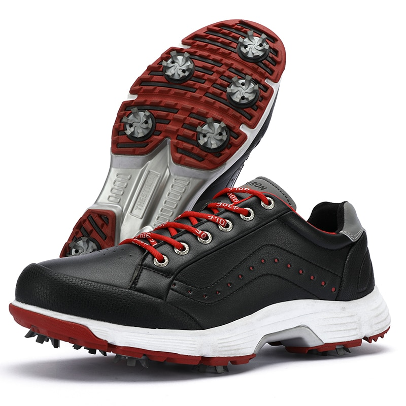 New Breathable Golf Shoes Men Red Black Outdoor Light Weight Quality Golf Sneakers Men Comfortable Walking Gym Sneakers new professional golf shoes men white black waterproof golf sneakers outdoor light weight footwear for men walking shoes