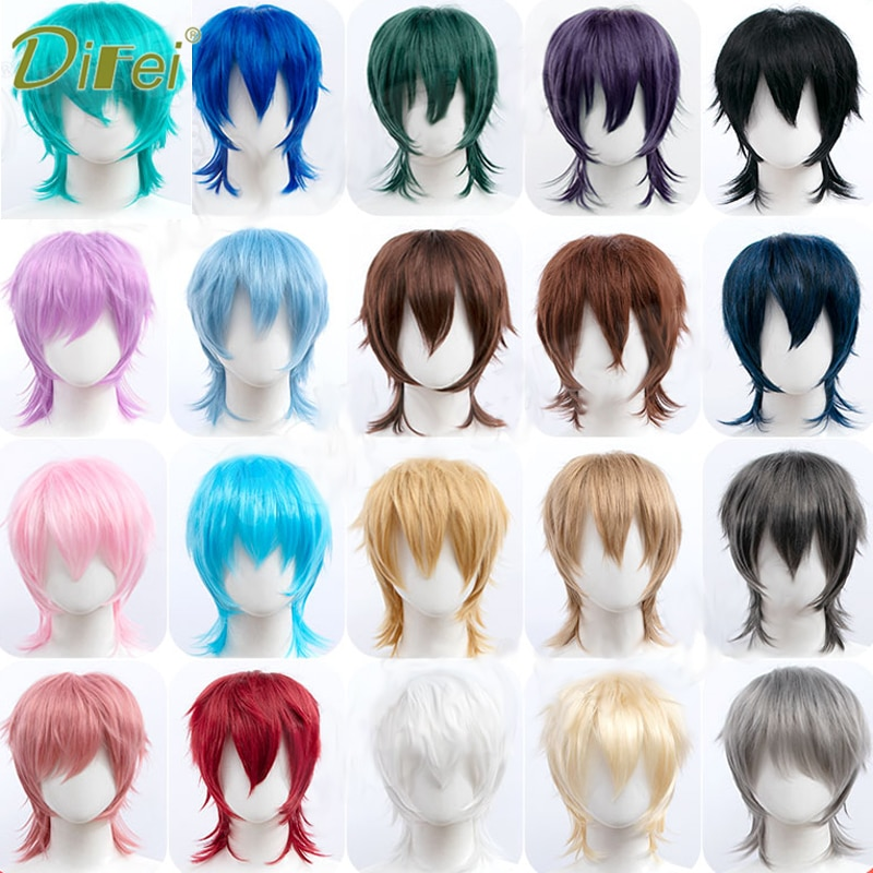 DIFEI Synthetic Black Red Pink Short Straight Hair For Boy Party Heat Resistant Fake Hair Mullet Fish Head Type Men Cosplay Wigs