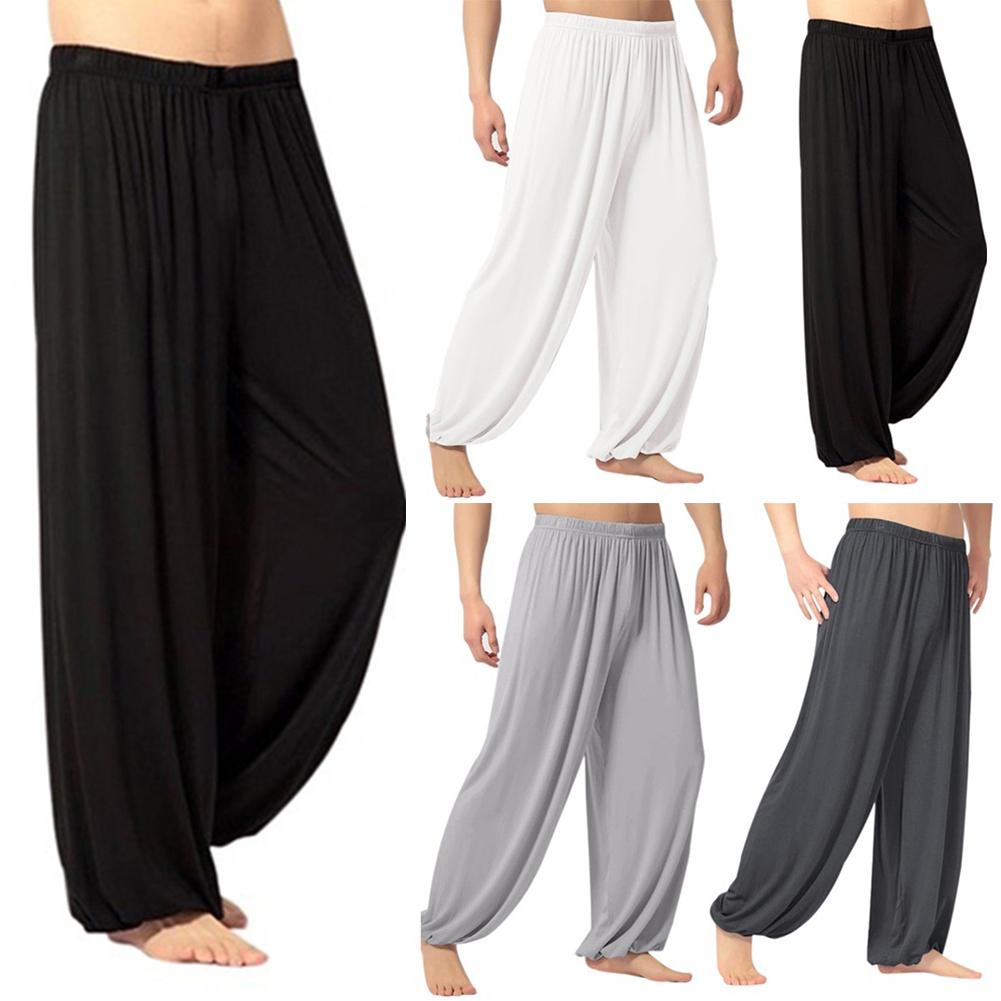 Штаны Для Йоги мужские повседневные однотонные мешковатые брюки шаровары для танца живота штаны для йоги Слаксы спортивные брюки Модная свободная Одежда для танцев