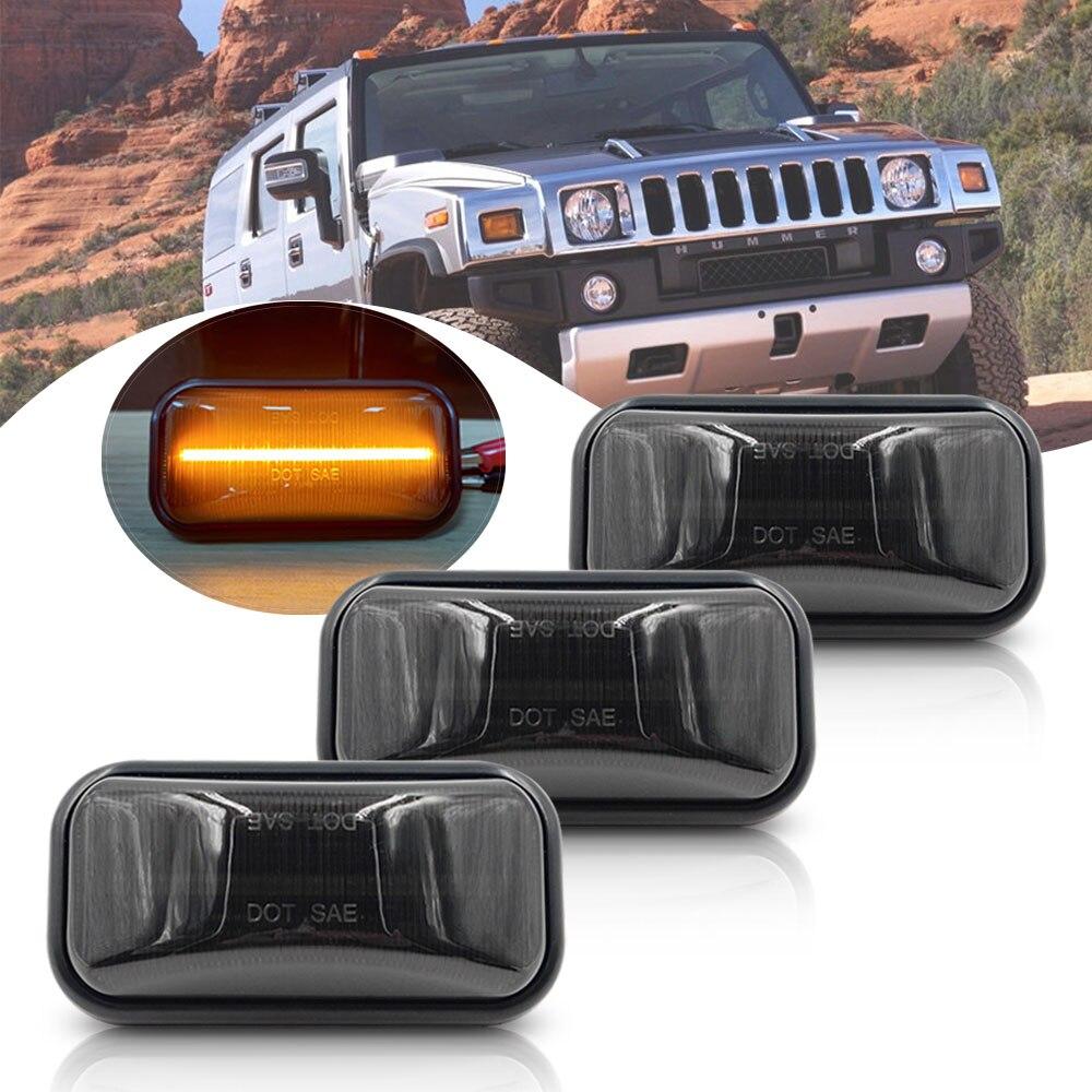 3X lente de humo para Hummer H2 03-09 H2 SUT 05-09 LED Cab rotulador de Techo Luz Ámbar claro Len bombillas Led frontal