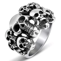 creative vintage skull head male rings for men punk style party gothic finger rings jewelry gift rings for women gothic