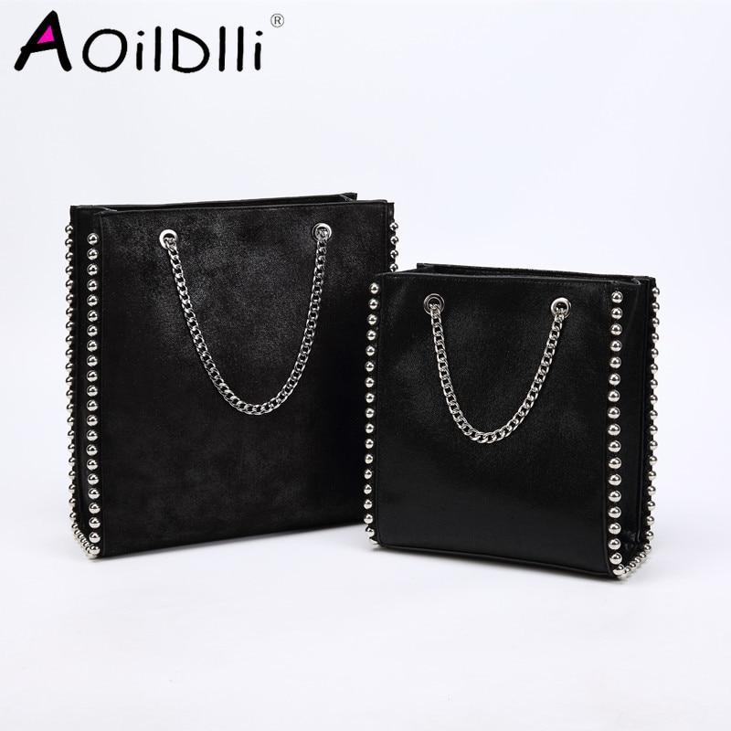 Vintage Large Capacity Totes Fashion Chain Rivet Women Shoulder Bags Lady Designer Luxury Pu Leather Handbags Purses Bucket 2109