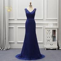 abendkleider 2020 royal blue long formal dresses lace evening dresses sweep train backless lady party gown robe de soiree ev016