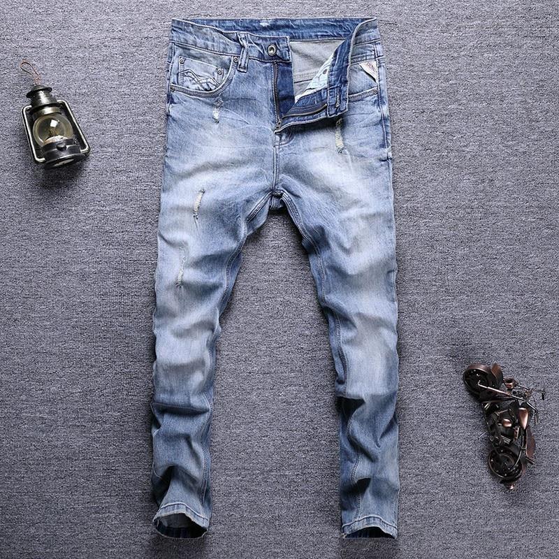 Европейские винтажные модные мужские джинсы в стиле ретро светло-голубые эластичные узкие рваные джинсы Мужские Простые Дизайнерские повс...