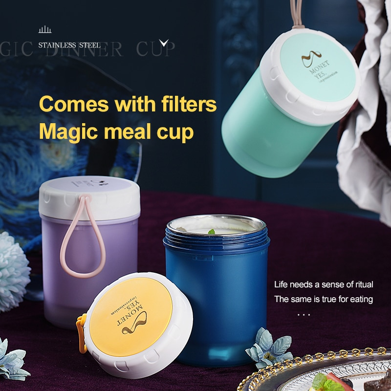 304 Stainless Steel Insulated Lunch Box Soup Holder Portable Food Container For Picnic School Office Handheld Soup Cup Thermos