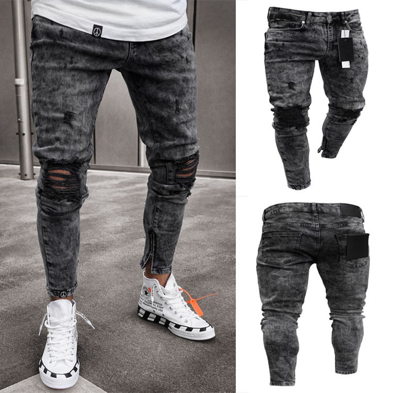 Men's Ripped Stretch Mid-Waist Denim Trousers With Small Feet And Zipper