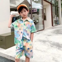 2021 boys shirt shorts sets fashion clothing suits childrens clothing 2 piece brand luxury design boys clothes for teenagers