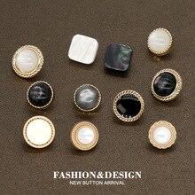 10 шт 10/11 мм Дамская рубашка с черным жемчугом и золотыми металлическими пуговицами для женской одежды платье Изысканная модная швейная Блуз...