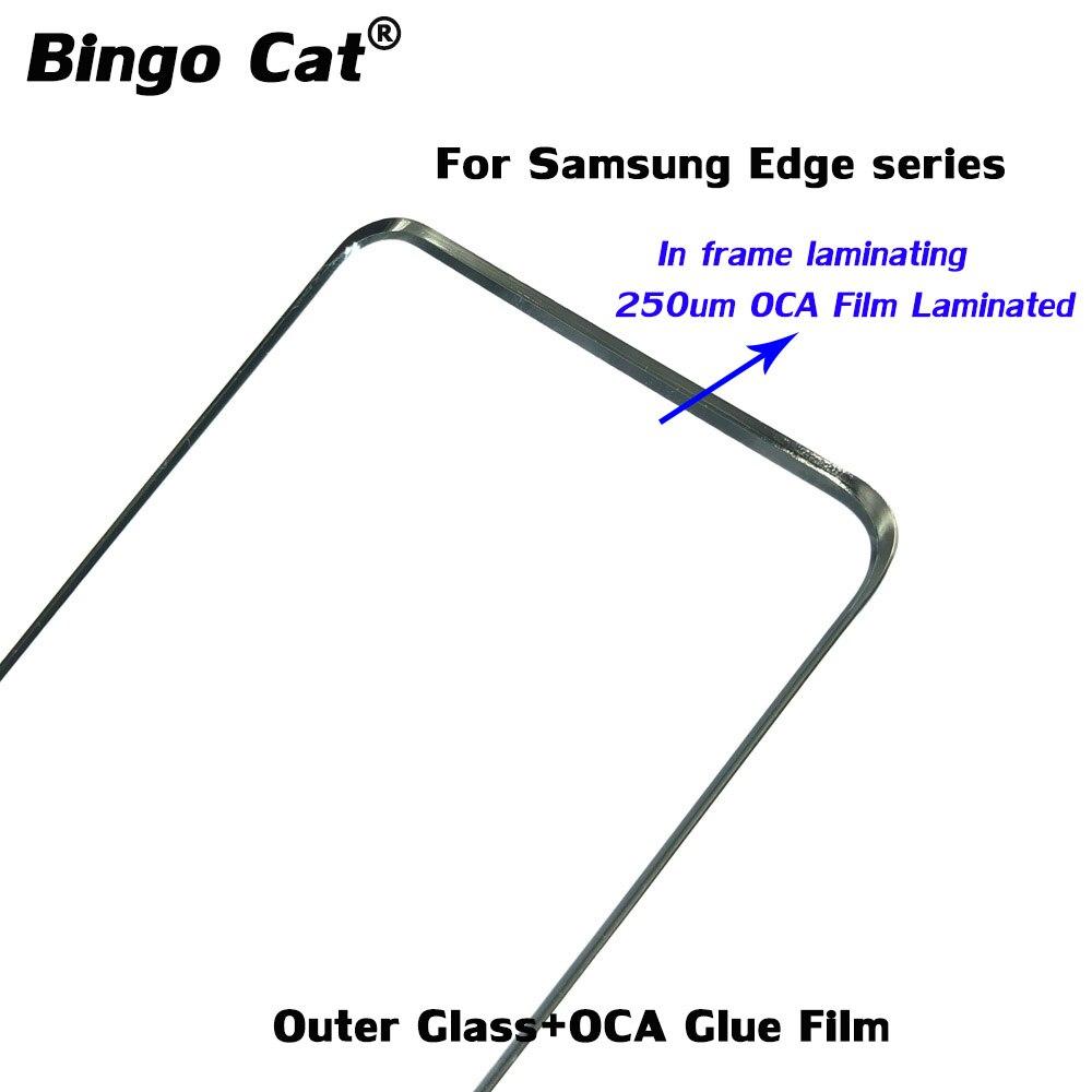 5 шт., передние стеклянные линзы с клейкой пленкой OCA 250 мкм для Samsung Galaxy S20 S9 S8 S10 Plus S21Ultra Note20