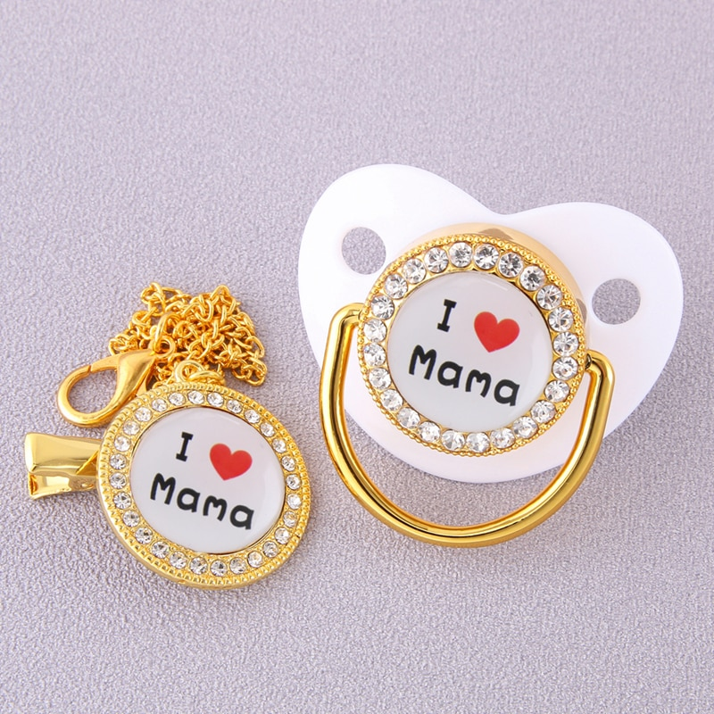 Luxury I Love MaMa Bling Bling Pacifier with Chain Clips Newborn Infant Food Grade Silicone Dummy Nipples For Baby Shower Gift